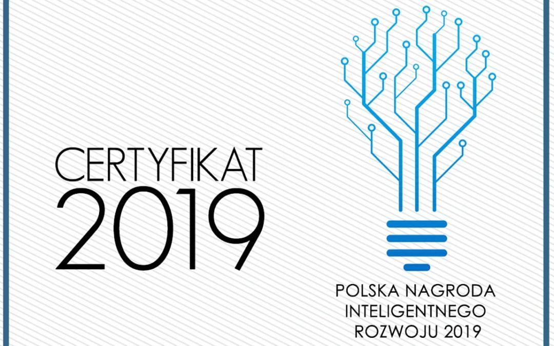 Polska Nagroda Inteligentnego Rozwoju 2019 odebrana!